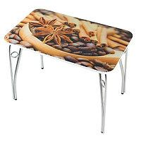 Стол прямоугольный с фотопечатью Кофе-4 1000х600х757 столешница стеклянная