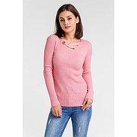 Пуловер с люрексом шнуровка спереди, размер 44, цвет розовый