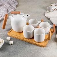 Набор чайный на деревянной подставке «Эстет», 5 предметов: чайник с ситом 600 мл, 4 кружки 200 мл, 10,5×7×6,5 см