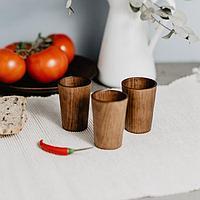 Набор рюмок 30 мл «Сибирская Сосна», 3 шт, из натуральной сосны, цвет шоколадный