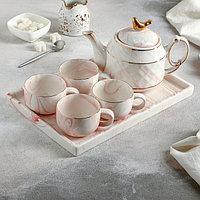 Набор чайный «Мрамор», 5 предметов: чайник 800 мл, 4 кружки 170 мл, подставка 31×21 см, цвет розовый