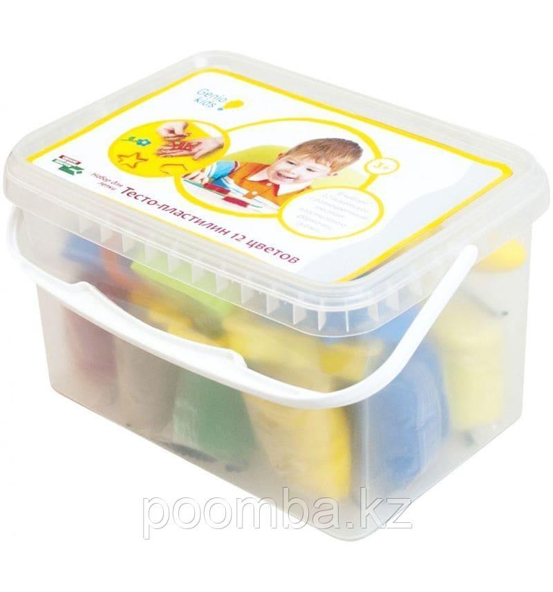 Тесто-пластилин 12 цветов с формами, набор для детского творчества Genio Kids