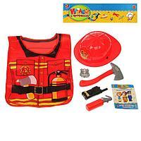 Набор игровой «Пожарный», 5 предметов, БОНУС книжка-раскраска «Узнаём профессии вместе», фартук