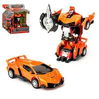 Робот-трансформер «Автобот» с инерционным механизмом, цвет оранжевый