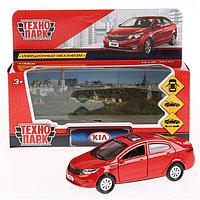 Машина металлическая Kia Rio, 12 см, открываются двери, инерционная, цвет красный