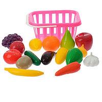 Набор «Фрукты и овощи» в корзине, 17 предметов, цвета МИКС