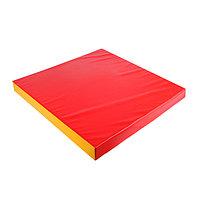 Мат 100 х 100 х 10 см, винилискожа, цвет красный/жёлтый