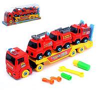 Конструктор винтовой «Пожарный автовоз», с 3 машинками