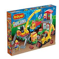 Конструктор «Стройка» в наборе со строительной площадкой с автокраном, грузовиком, 171 деталь