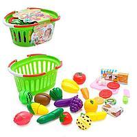 Набор продуктов для резки «Огород» на липучках, в корзинке