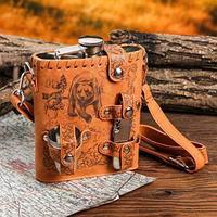 Туристический набор 'Медведь и собаки', фляжка 540 мл, стопки 3 шт, нож-мультитул