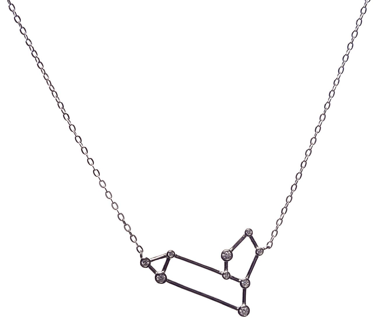 Серебряная подвеска (колье)   Лев, 40+5 см, плетение: якорное вставка: фианит белый, 2,4 гр