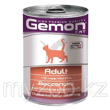 Gemon Cat кусочки с лососем и креветками для кошек 415 гр