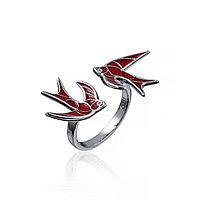 Серебряное кольцо Ласточка. Вставка: красная эмаль,фианит, размер: 16, вес: 3,3 гр