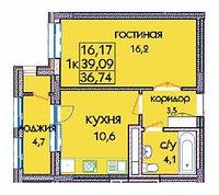 1 комнатная квартира в ЖК Expo New Life 2 36.98 м², фото 1