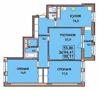 3 комнатная квартира в ЖК Expo New Life 2 91.55 м², фото 1