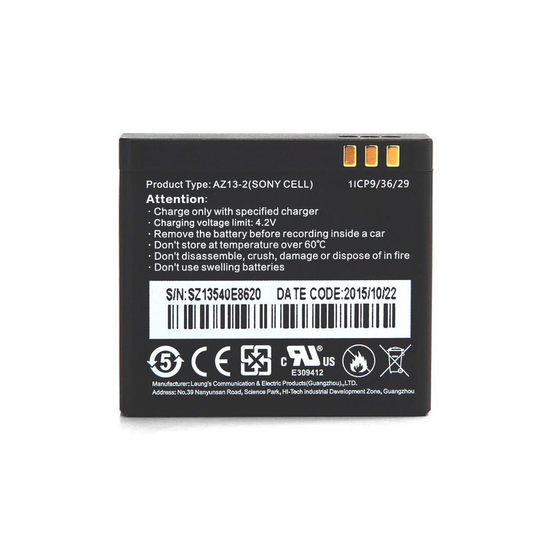 Батарея Xiaomi AZ13-2 для Xiaomi Yi экшен камеры (1010mAh, 3.7V, Black)