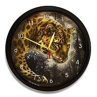 """Часы настенные, серия: Животный мир, """"Ягуар"""", чёрный обод, 28х28 см"""