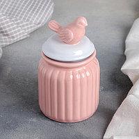 Банка для сыпучих продуктов «Соловушка», 300 мл, 8×14 см, цвет розовый