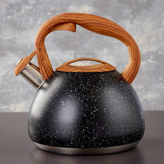 Чайник со свистком 2,7 л Stone черный, ручка soft-touch, индукция
