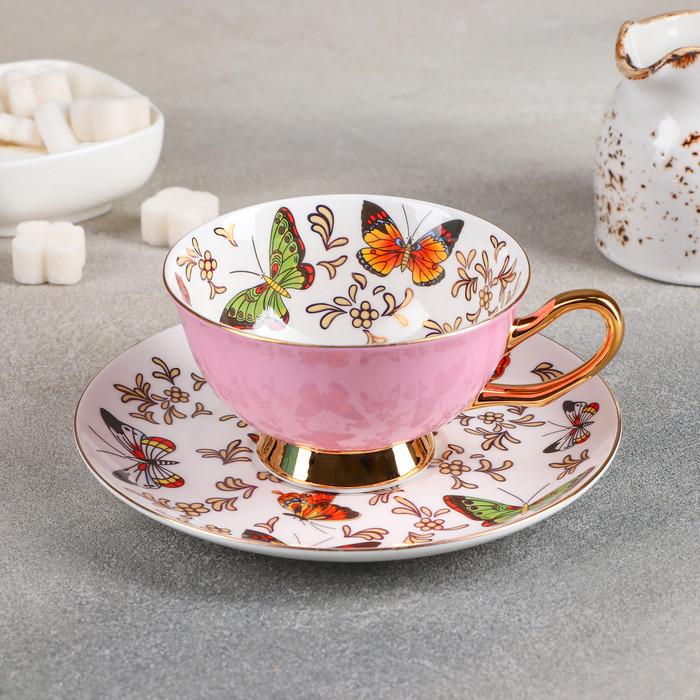 Чайная пара «Маклен», чашка 13×10,5×6 см, блюдце 15×2 см, цвет фиолетовый