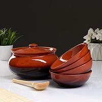 """Набор посуды """"Вятская керамика"""" 2,5л + 4х0,5л + деревянная ложка, традиционный"""