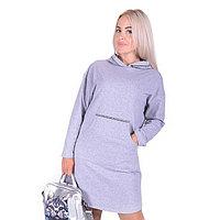 Платье женское, цвет серый, размер 48