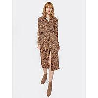 Платье женское, цвет песочный/зебра, размер 46 (M)