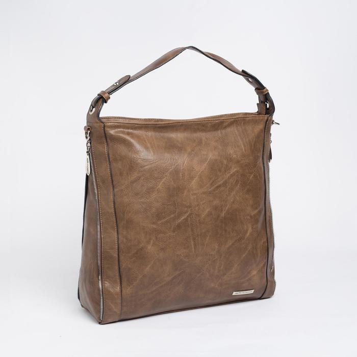 Сумка жен 4055, 36*15*39, отд на молнии, регул ремень, н/карман, коричневый