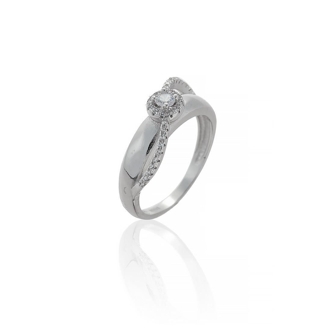 """Серебряное кольцо """"Классика"""" (помолвочное). Вставка: белый фианит, вес: 3,1 гр, размер: 18, покрытие"""