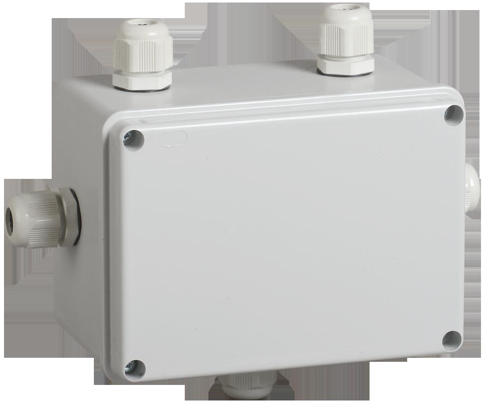 Коробка КМ41331 распаячная для о/п 150х110х85 мм IP55 (RAL7035, гермовводы PG11 5 шт) ИЭК