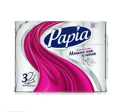 Туалетная бумага рулонная Papia, 16,8 метров, 3-х слойная, 12 рулонов