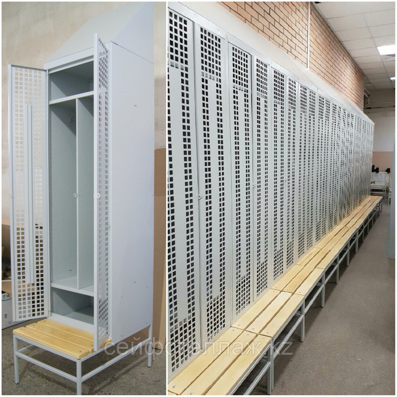 Шкафы для раздевалок с наклонной крышей