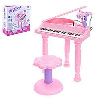 Детское пианино «розовая мечта» с микрофоном и стульчиком 37 кл
