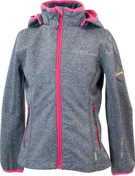Куртка Huppa Softshell для девочек JANET, тёмно-серый/фуксиа