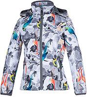 Куртка Huppa Softshell для девочек JANET, белый с принтом