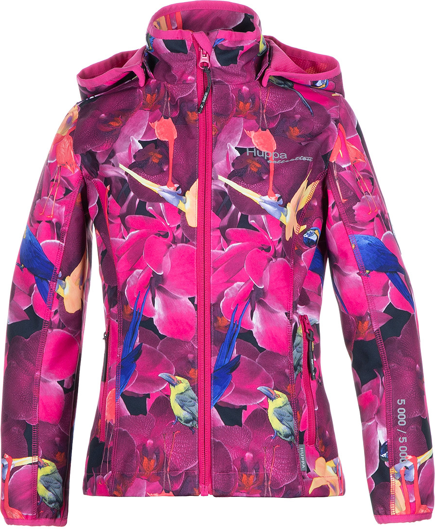 Куртка Huppa Softshell для девочек JANET, фуксиа с принтом - фото 1