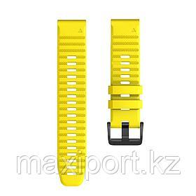 Ремешок силиконовый желтый 22мм на Garmin Fenix5, fenix 5plus, fenix 6