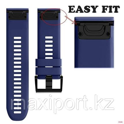 Ремешок силиконовый синий 22мм на Garmin fenix 5, fenix 5plus, fenix 6, фото 2
