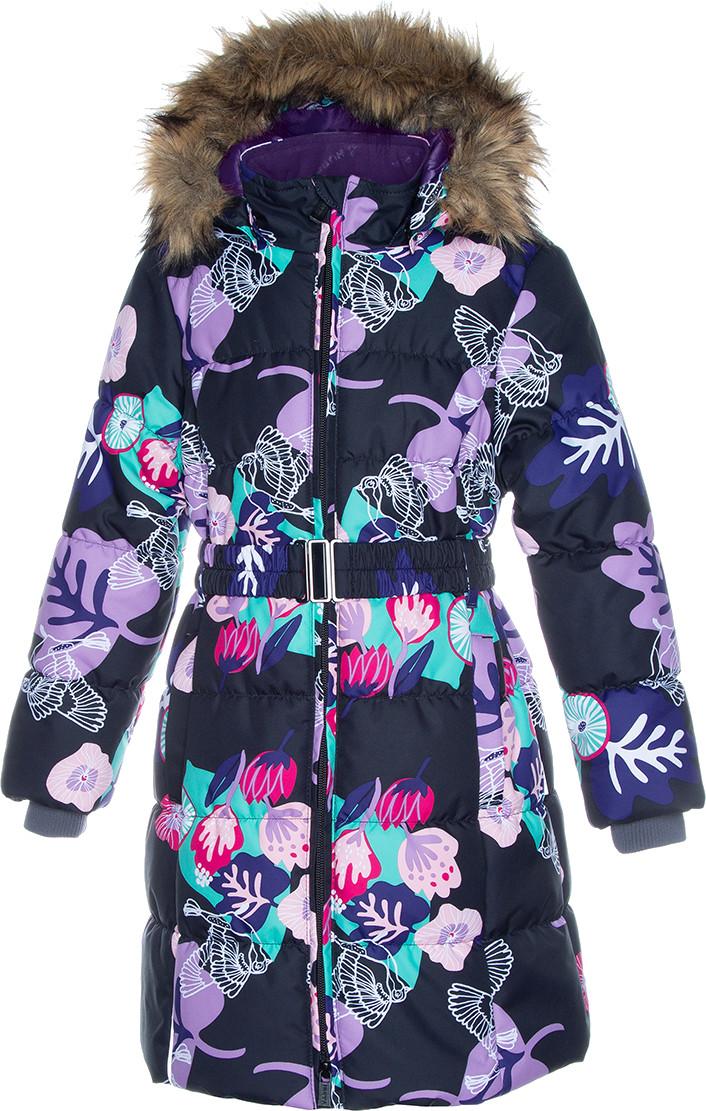 Пальто для девочек Huppa YACARANDA, чёрный с принтом