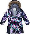 Пальто для девочек Huppa YACARANDA, чёрный с принтом, фото 4