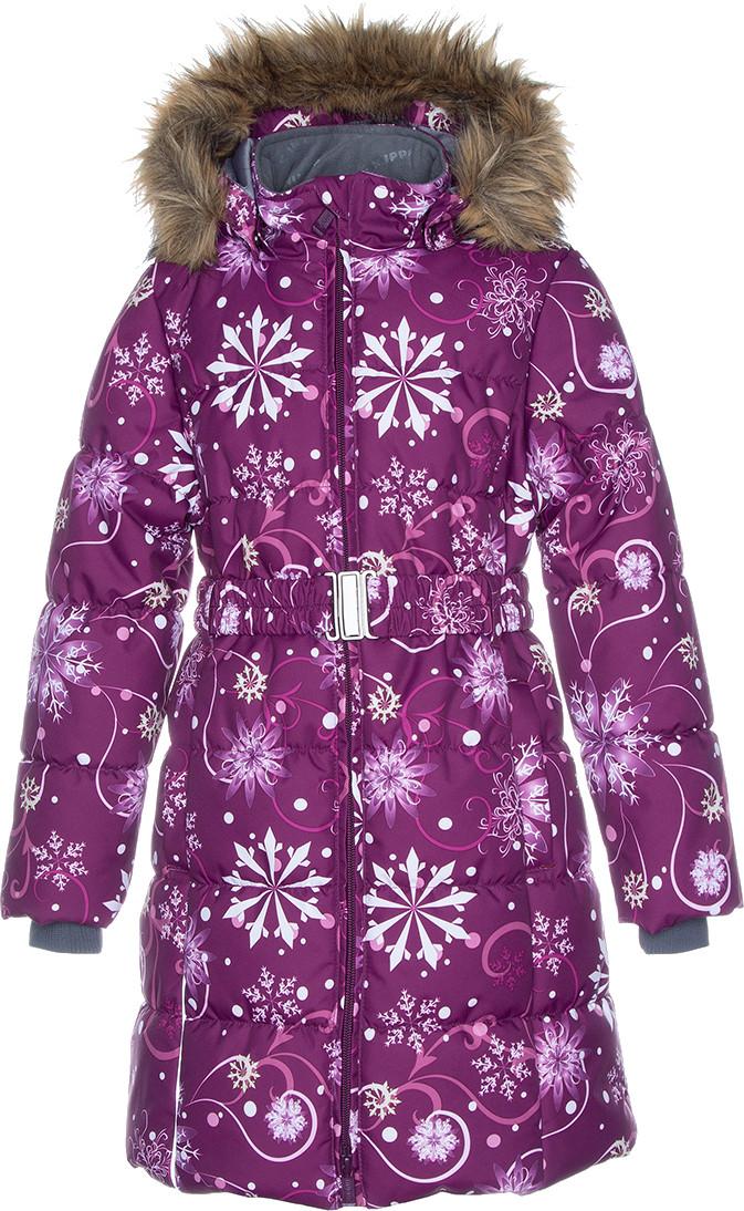 Пальто для девочек Huppa YACARANDA, бордовый с принтом - 146