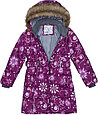 Пальто для девочек Huppa YACARANDA, бордовый с принтом - 146, фото 4