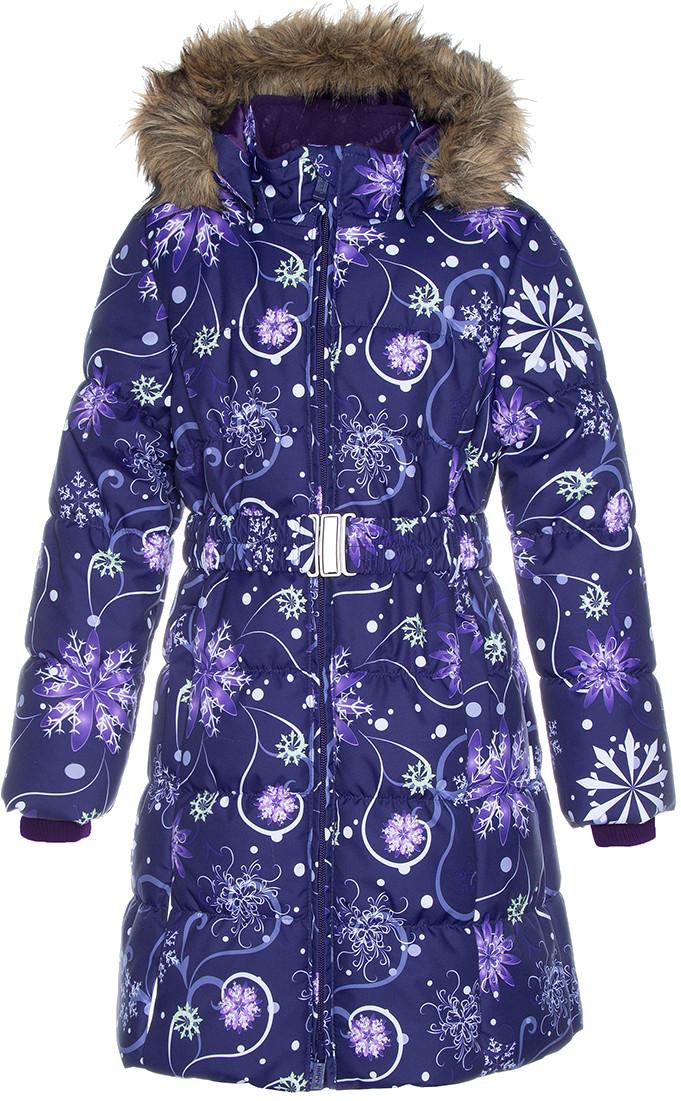 Пальто для девочек Huppa YACARANDA, тёмно-лилoвый с принтом - XL