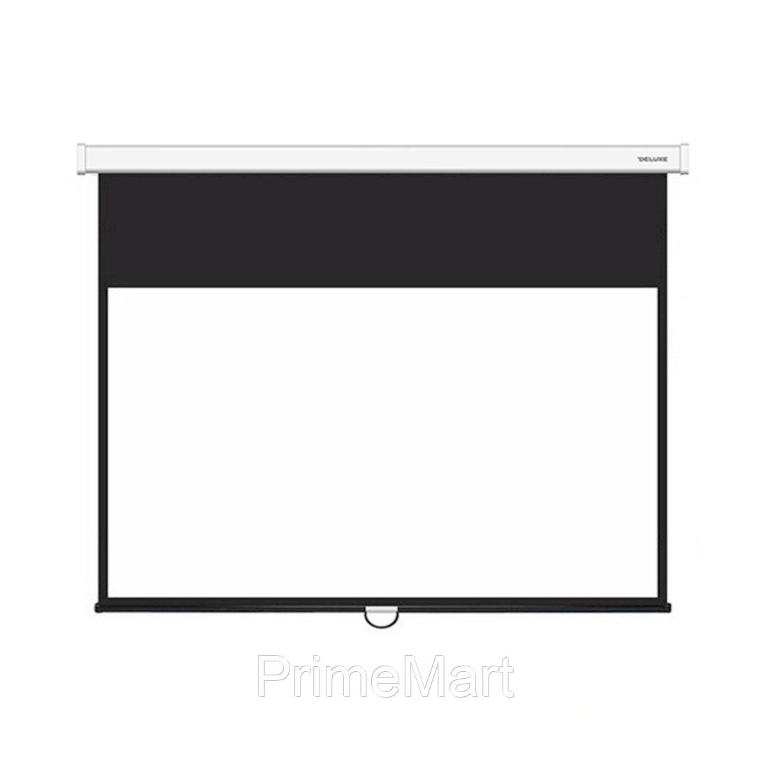 Экран механический, Deluxe, Настенный/потолочный, Рабочая поверхность 266х266 см., 1:1, Matt white, Чёрный