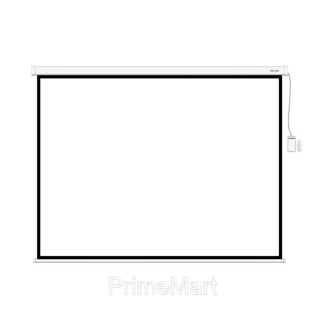 Экран моторизированный, Deluxe, Настенный/потолочный, Рабочая поверхность 205х205 см., 1:1, Matt white, Чёрный