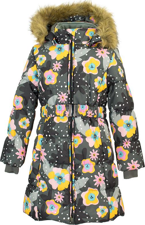 Пальто для девочек Huppa YACARANDA, серый с принтом XS