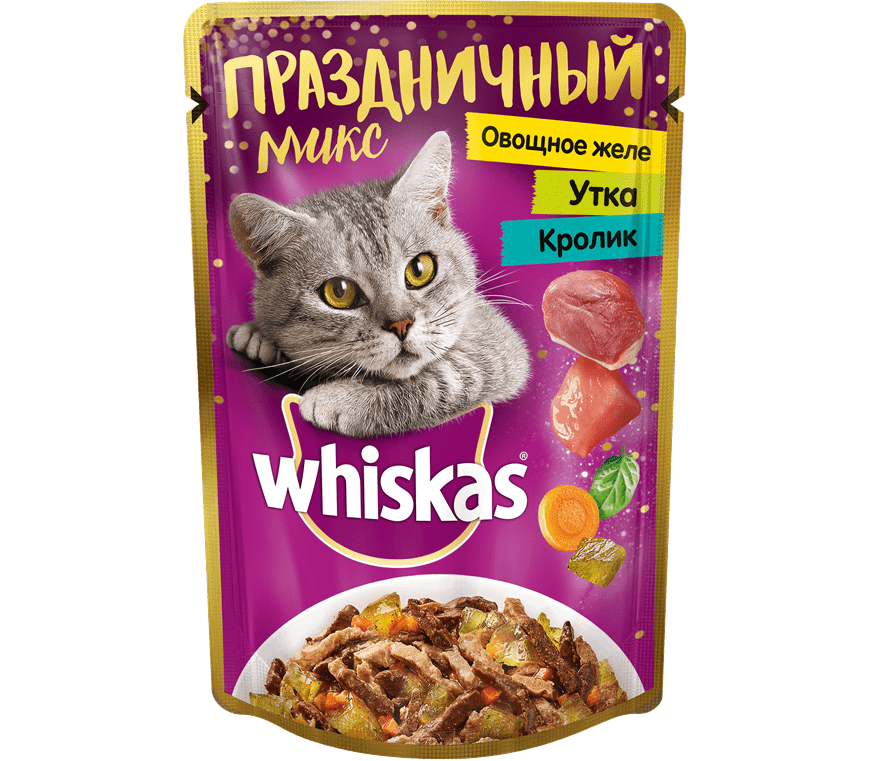 Корм для кошек Вискас Микс Овощное желе, Утка и Кролик