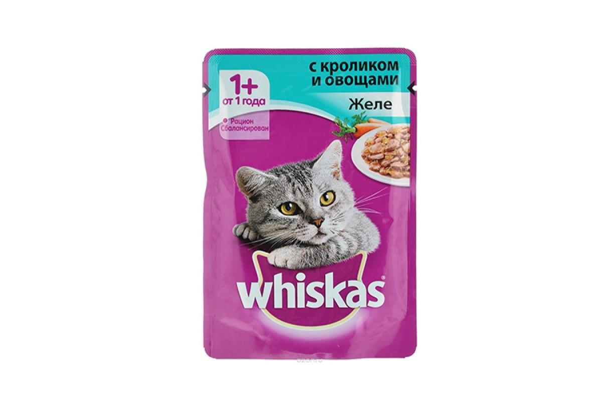 Влажный корм для кошек Вискас Желе Кролик с Овощами