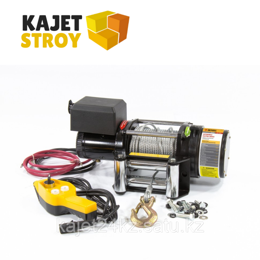 Лебедка автомобильная электрическая LB- 4000, 4,5 т, 3,7 кВт, 12 В// Denzel